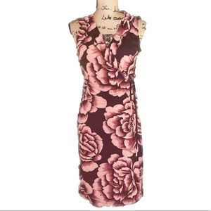 NWT- pinks  and Reds Ruffled V Neck Wrap Dress